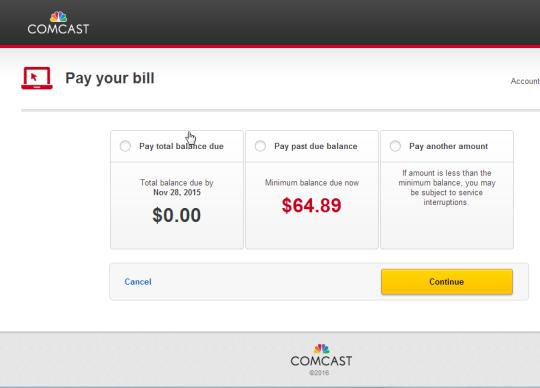 comcast payment due